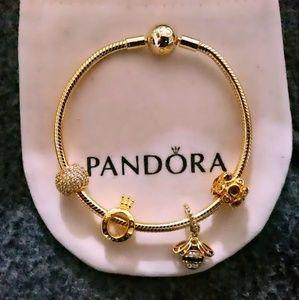 Pandora shine gold bracelet + 4 Pandora gold beads